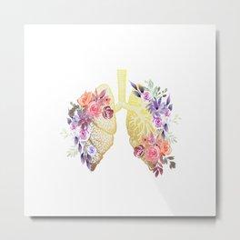 Floral Lungs Anatomy  Metal Print