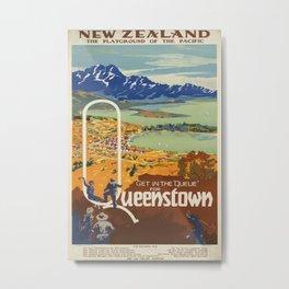 Get in the Queue for Queenstown Vintage Travel Poster Metal Print