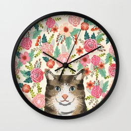 Cat floral pet portrait tabby cats Wall Clock