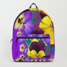 FUCHSIA BORDER PURPLE-YELLOW PANSIES GARDEN ABSTRACT MODERN ART  Backpack