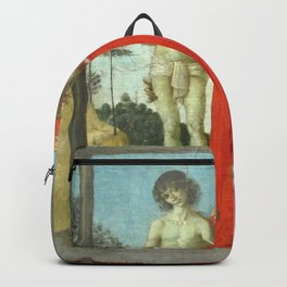 Pietro Perugino - St Jerome Supporting Two Hanged Young People Backpack