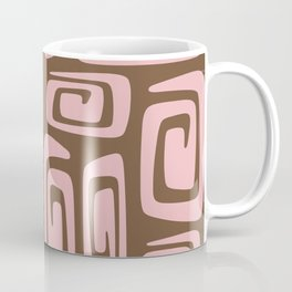 Mid Century Modern Cosmic Abstract 520 Pink and Brown Coffee Mug