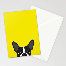 Boston Terrier Yellow Stationery Cards
