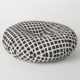 Grid Pattern 313 Black and Linen Floor Pillow