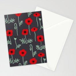 Red poppy flower pattern Stationery Cards