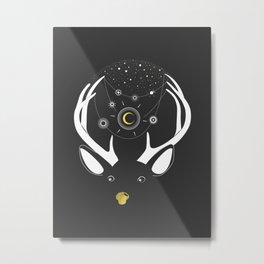 Rudolph and the Moon Metal Print