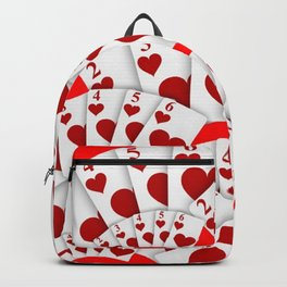 """DECORATIVE RED """"ROYAL FLUSH"""" IN RED HEARTS SUIT Backpack"""