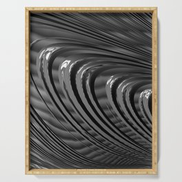 dark grey fractal abstract - lines, curves Serving Tray