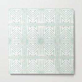 Nappy Faux Velvet Framed Wicker Repeat in Green Reversed Metal Print