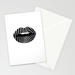 Zebra Pattern Lips Zebra Stripes Fur Print Animal Print Stationery Cards