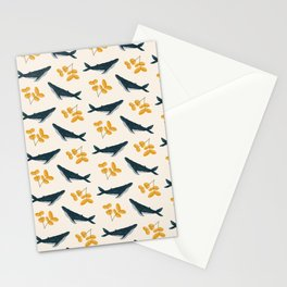 Happy Whales and Florals Pattern Stationery Cards