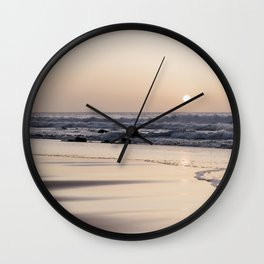 Pastel sunset at the beach | Waves of the Atlantic Ocean | Fine Art Travel Photography | Wall Clock