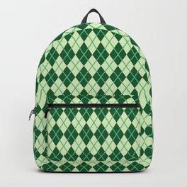 Green Argyle Pattern Backpack