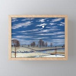 Henry Farrer Winter Scene in Moonlight Framed Mini Art Print