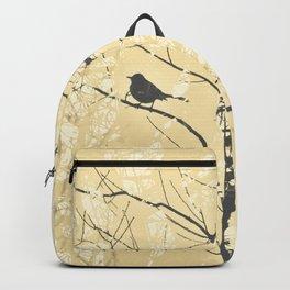 Mockingbird in Tree Soft Yellow Grey Silhouette Backpack