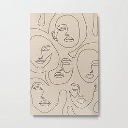 Faces In Beige Metal Print