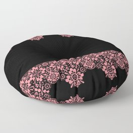 Retro .Vintage . Pink lace on a black background . Floor Pillow