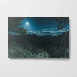 Night Forest with MoonLight Metal Print