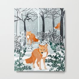 Fox Snow Walk, Animals Wildlife Winter, New Years Christmas Forest Wildlife Painting Metal Print