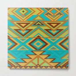 Native Aztec Turquoise Tribal Rug Pattern Metal Print