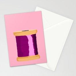 Purple Spool Of Thread Stationery Cards