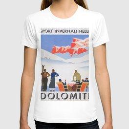 Dolomites Italy Vintage Ski Poster T-shirt