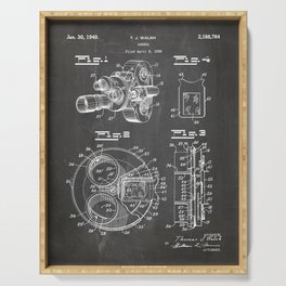 Movie Camera Patent - Film Camera Art - Black Chalkboard Serving Tray