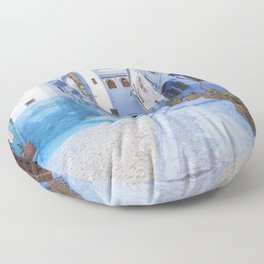 Life in Blue, Chefchaouen Morocco Floor Pillow
