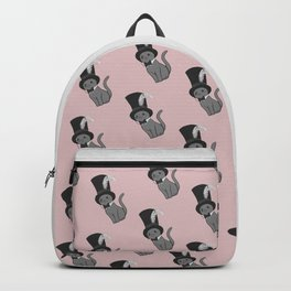 Grey Cat Wears Plumed Top Hat Backpack