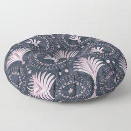 Blush Pink Art Deco Retro Pattern On Dark Blue Velvet Floor Pillow