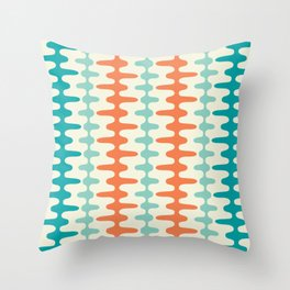 Retro Mid Century Modern Trellis Print Orange and Teal Throw Pillow