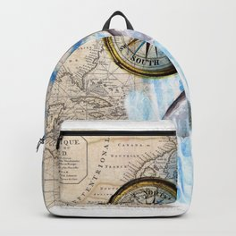 Great White Shark Compass Vintage Map Backpack