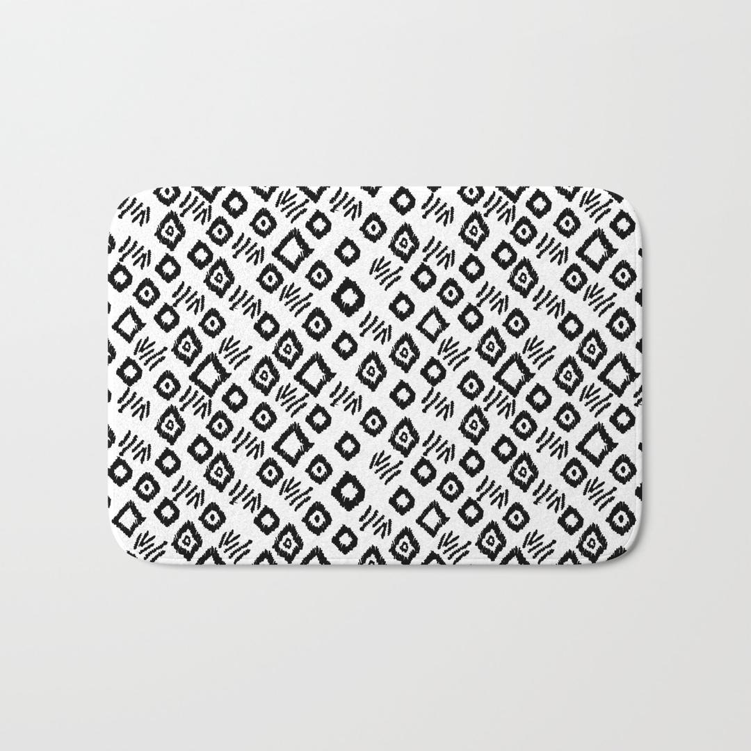 Funny Bath Mats Cintinelcom - Black and white tribal bath mat for bathroom decorating ideas