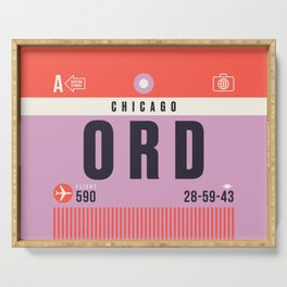 Baggage Tag A - ORD Chicago O'Hare USA Serving Tray