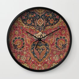 Persian Medallion Rug VII // 16th Century Distressed Red Green Blue Flowery Colorful Ornate Pattern Wall Clock