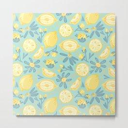 Lemon Pattern Mint Metal Print