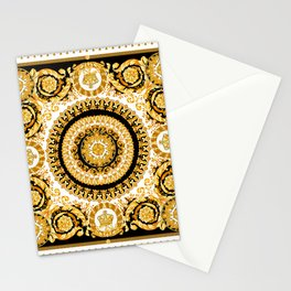 Vintage baroque illustration pattern, antique elements with golden frame on black background. Luxury victorian floral golden elements in a circle and greek lines. Stationery Cards