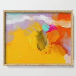 yellow blush abstract Serving Tray