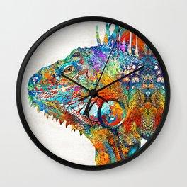 Colorful Iguana Art - One Cool Dude - Sharon Cummings Wall Clock