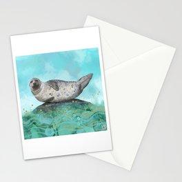 Cute Alaskan Iliamna Seal in Banana Pose Stationery Cards