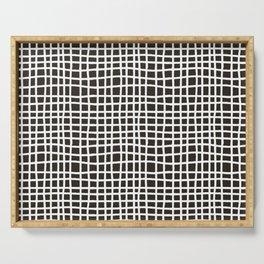 chocolate brown random cross hatch lines checker pattern Serving Tray