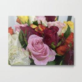 Dewdrop Roses Metal Print