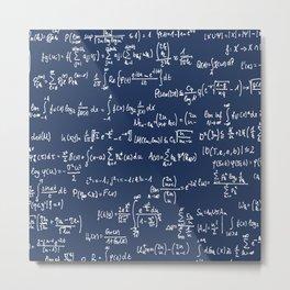 Math Equations // Navy Metal Print