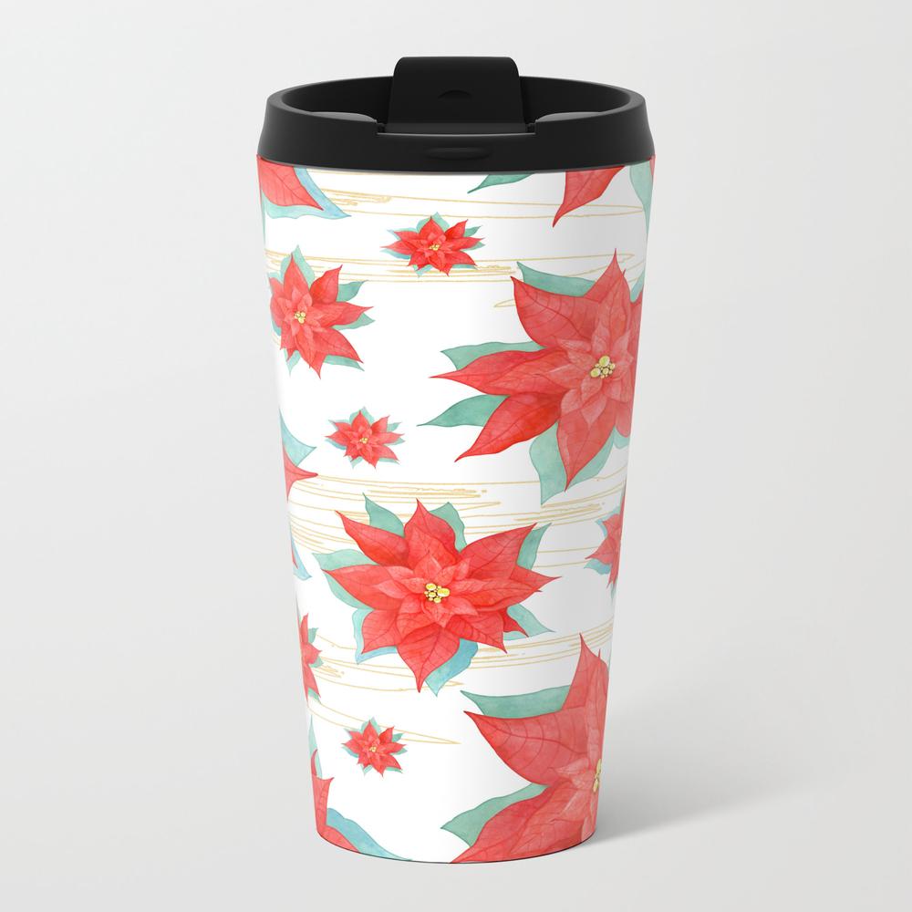 Red Poinsettia #2 Metal Travel Mug by Julianarw MTM7618593