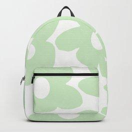 Large Baby Green Retro Flowers White Background #decor #society6 #buyart Backpack