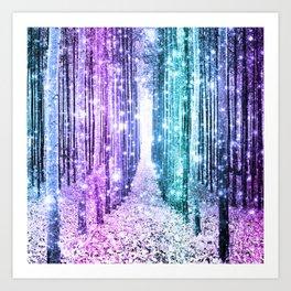 Magical Forest Lavender Aqua Teal Ombre Art Print