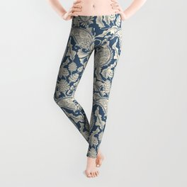 Vintage & Shabby Chic - William Morris Classic Blue Antique Floral Leggings