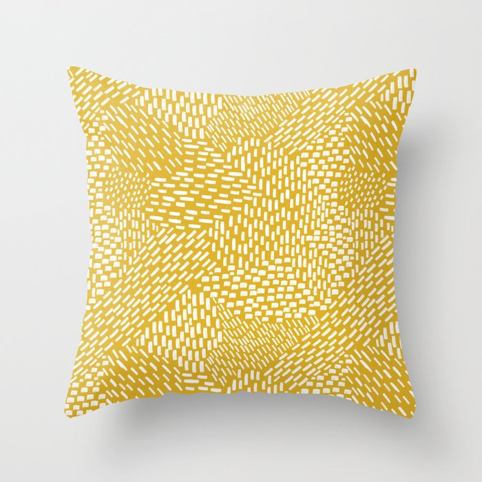 abstract brush strokes mustard yellow throw pillow by fischerfinearts