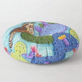 Cactus Wren & Prickly Pear Cactus Floor Pillow