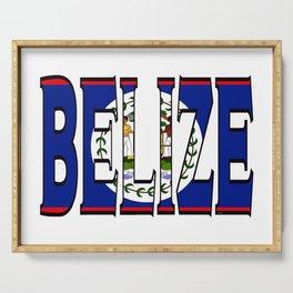 Belize Font with Belizean Flag Serving Tray